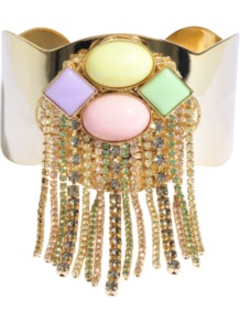 Fringe Pastel Cuff - predominant colour: gold; occasions: evening, occasion; style: cuff; size: large/oversized; material: chain/metal; trends: metallics; finish: metallic; embellishment: jewels
