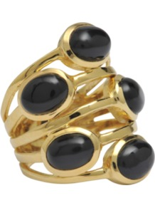 Golden Ring With Black Onyx Stones - predominant colour: black; occasions: casual, evening, occasion, holiday; style: cocktail; size: large/oversized; material: chain/metal; finish: metallic; embellishment: jewels