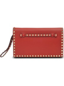 Rock Studs Leather Clutch - predominant colour: terracotta; occasions: evening, occasion; type of pattern: small; style: clutch; length: hand carry; size: small; material: leather; embellishment: studs; pattern: plain; finish: plain