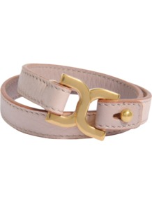 Double Marcie Bracelet - predominant colour: blush; occasions: casual, evening, work; style: friendship bracelet; size: large/oversized; material: leather; finish: plain; embellishment: chain/metal