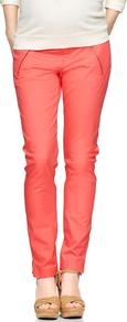 Demi Panel Skinny Mini Khakis - length: standard; pattern: plain; waist: mid/regular rise; predominant colour: coral; occasions: casual; fibres: cotton - stretch; texture group: cotton feel fabrics; fit: skinny/tight leg; pattern type: fabric; style: standard