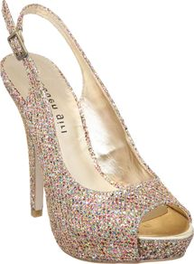 Jassper Mg Peep Toe Slingback, Gold - predominant colour: gold; occasions: evening, occasion; material: fabric; heel height: high; embellishment: sequins; heel: platform; toe: open toe/peeptoe; style: slingbacks; trends: metallics; finish: metallic; pattern: plain