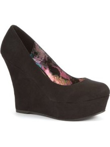 Rock On Black Wedges - predominant colour: black; occasions: casual, evening; material: fabric; heel: wedge; toe: round toe; style: courts; finish: plain; pattern: plain; heel height: very high