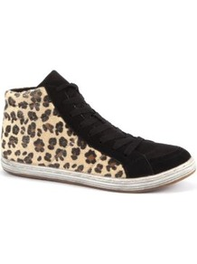 Leopard Print Hi Top Trainers - predominant colour: black; occasions: casual; material: fabric; heel height: flat; heel: standard; toe: round toe; boot length: ankle boot; style: high top; finish: plain; pattern: animal print