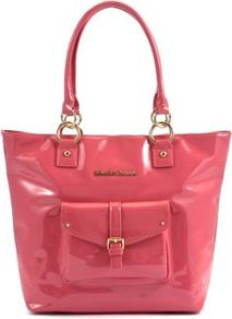 Pink Patent Tote Bag - predominant colour: pink; occasions: casual, work, holiday; type of pattern: standard; style: tote; length: handle; size: standard; material: faux leather; pattern: plain; finish: patent