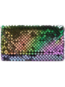Black Chainmail Clutch - occasions: evening, occasion; predominant colour: multicoloured; type of pattern: heavy; style: clutch; length: hand carry; size: small; material: fabric; trends: metallics; finish: metallic; pattern: patterned/print; embellishment: chain/metal