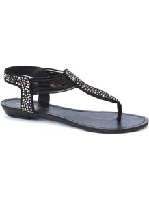Black Embellished Flat Sandals - predominant colour: black; occasions: casual, holiday; material: faux leather; heel height: flat; embellishment: crystals; ankle detail: ankle strap; heel: standard; toe: toe thongs; style: flip flops / toe post; finish: plain; pattern: plain
