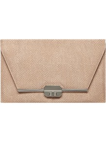 Bone Snake Bar Lock Clutch - predominant colour: taupe; occasions: evening, occasion, holiday; type of pattern: standard; style: clutch; length: hand carry; size: standard; material: faux leather; pattern: plain; finish: plain; embellishment: chain/metal