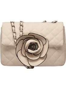 Stone Rosette Quilted Crossbody - predominant colour: ivory; occasions: casual, evening, occasion, holiday; type of pattern: light; style: shoulder; length: across body/long; size: small; material: faux leather; pattern: plain; finish: plain; embellishment: corsage