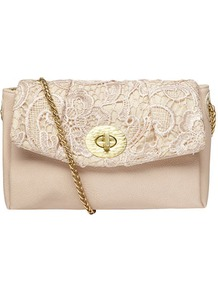 Cream Crochet Crossbody - predominant colour: nude; occasions: evening, occasion; type of pattern: light; style: shoulder; length: shoulder (tucks under arm); size: standard; material: fabric; finish: plain; pattern: patterned/print; embellishment: lace