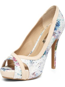 Floral Platform Peep Courts - predominant colour: ivory; secondary colour: nude; occasions: evening, work, occasion; material: faux leather; heel height: high; heel: stiletto; toe: open toe/peeptoe; style: courts; finish: plain; pattern: florals