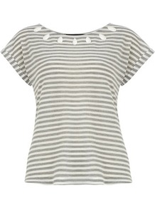 Gem Neck Stripe Tee - neckline: round neck; pattern: horizontal stripes; bust detail: added detail/embellishment at bust; style: t-shirt; secondary colour: white; predominant colour: mid grey; occasions: casual, holiday; length: standard; fibres: polyester/polyamide - mix; fit: body skimming; sleeve length: short sleeve; sleeve style: standard; pattern type: fabric; pattern size: standard; texture group: jersey - stretchy/drapey; embellishment: beading