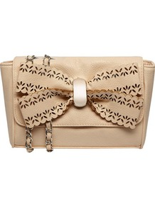 Blush Scallop Bow Crossbody - predominant colour: nude; occasions: casual, evening, occasion; style: messenger; length: across body/long; size: small; material: faux leather; pattern: plain; finish: plain; embellishment: bow