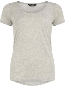 Grey Twist Neck Tee - neckline: round neck; pattern: plain; style: t-shirt; predominant colour: light grey; occasions: casual; length: standard; fibres: polyester/polyamide - mix; fit: body skimming; sleeve length: short sleeve; sleeve style: standard; pattern type: fabric; texture group: jersey - stretchy/drapey