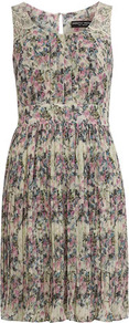 Ivory Butterfly Printed Dress - style: shift; fit: fitted at waist; sleeve style: sleeveless; waist detail: fitted waist; predominant colour: pistachio; occasions: casual, evening; length: just above the knee; fibres: polyester/polyamide - 100%; neckline: crew; sleeve length: sleeveless; texture group: sheer fabrics/chiffon/organza etc.; pattern type: fabric; pattern size: small &amp; busy; pattern: florals