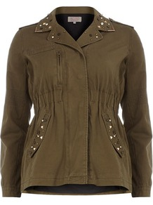 Khaki Studded Army Jacket - pattern: plain; shoulder detail: obvious epaulette; bust detail: added detail/embellishment at bust; collar: standard lapel/rever collar; predominant colour: khaki; occasions: casual, evening, work; length: standard; fit: straight cut (boxy); fibres: cotton - 100%; waist detail: fitted waist; back detail: embellishment at back; sleeve length: long sleeve; sleeve style: standard; texture group: cotton feel fabrics; collar break: medium; pattern type: fabric; embellishment: studs; style: single breasted military jacket
