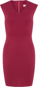 Rose Semi Circle Waist Dress - style: shift; neckline: v-neck; pattern: plain; sleeve style: sleeveless; predominant colour: hot pink; occasions: evening, work, occasion; length: just above the knee; fit: body skimming; fibres: polyester/polyamide - stretch; sleeve length: sleeveless; texture group: jersey - clingy; trends: glamorous day shifts; pattern type: fabric