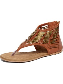 Tan Hardware Sandal - predominant colour: tan; occasions: casual, holiday; material: leather; heel height: flat; ankle detail: ankle strap; heel: standard; toe: toe thongs; style: flip flops / toe post; finish: plain; pattern: plain; embellishment: chain/metal