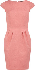 Coral Embossed Lantern Dress - style: shift; neckline: slash/boat neckline; sleeve style: capped; fit: tailored/fitted; pattern: plain; waist detail: fitted waist; predominant colour: pink; occasions: evening, occasion; length: just above the knee; fibres: cotton - mix; hip detail: ruching/gathering at hip; sleeve length: short sleeve; texture group: cotton feel fabrics