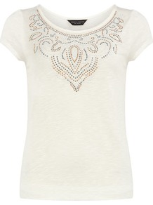 Ivory Stud Necklace Tee - neckline: round neck; sleeve style: capped; bust detail: added detail/embellishment at bust; style: t-shirt; predominant colour: ivory; occasions: casual, work, holiday; length: standard; fibres: viscose/rayon - 100%; fit: body skimming; sleeve length: short sleeve; pattern type: fabric; pattern size: small & light; pattern: patterned/print; texture group: jersey - stretchy/drapey; embellishment: studs