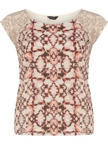 Snake Lace Print Tee - neckline: round neck; sleeve style: capped; style: t-shirt; shoulder detail: contrast pattern/fabric at shoulder; secondary colour: ivory; predominant colour: chocolate brown; occasions: casual, work, holiday; length: standard; fibres: cotton - 100%; fit: body skimming; sleeve length: sleeveless; pattern type: fabric; pattern size: big &amp; busy; pattern: patterned/print; texture group: jersey - stretchy/drapey