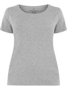Grey Marl Cotton T Shirt - neckline: round neck; pattern: plain; style: t-shirt; predominant colour: light grey; occasions: casual, holiday; length: standard; fibres: cotton - mix; fit: straight cut; sleeve length: short sleeve; sleeve style: standard; pattern type: fabric; pattern size: standard; texture group: jersey - stretchy/drapey