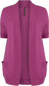 Pink Slub Cardigan - pattern: plain; length: below the bottom; neckline: collarless open; style: open front; predominant colour: pink; occasions: casual, work; fibres: cotton - 100%; fit: loose; sleeve length: short sleeve; sleeve style: standard; texture group: knits/crochet; pattern type: knitted - fine stitch; pattern size: standard