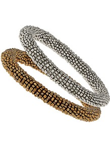 2 Pack Bead Wrap Bracelets - predominant colour: gold; occasions: casual, evening, work, occasion, holiday; style: bangle; size: standard; material: chain/metal; trends: metallics; finish: metallic; embellishment: beading
