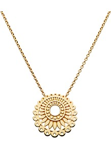 Gold Plated Chantilly Necklace - predominant colour: gold; occasions: casual, evening, work, occasion, holiday; style: pendant; length: mid; size: standard; material: chain/metal; trends: metallics; finish: plain; embellishment: chain/metal