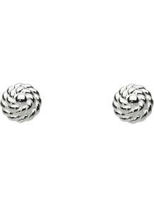 Ravel Sterling Silver Stud Earrings - predominant colour: silver; occasions: casual; style: stud; length: short; size: small; material: chain/metal; fastening: pierced; finish: metallic