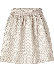 Oatmeal/Multi Romy Dot Jacquard Skirt - style: full/prom skirt; fit: loose/voluminous; waist detail: elasticated waist; waist: high rise; predominant colour: stone; occasions: evening, work, occasion; length: just above the knee; fibres: polyester/polyamide - mix; hip detail: structured pleats at hip; texture group: ornate wovens; trends: metallics, volume; pattern type: fabric; pattern size: small & busy; pattern: patterned/print