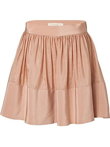 Nude Silk Linen Skirt - pattern: plain; fit: loose/voluminous; waist detail: twist front waist detail/nipped in at waist on one side/soft pleats/draping/ruching/gathering waist detail; waist: mid/regular rise; predominant colour: nude; occasions: evening, work, occasion, holiday; length: just above the knee; style: a-line; fibres: silk - mix; hip detail: ruching/gathering at hip; texture group: silky - light; trends: volume; pattern type: fabric; pattern size: standard