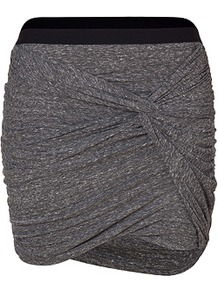 Anthracite Heather Draped Cotton Skirt - length: mini; pattern: plain; fit: tight; waist detail: embellishment at waist/feature waistband; waist: mid/regular rise; predominant colour: charcoal; occasions: casual, evening, work; style: mini skirt; fibres: cotton - 100%; hip detail: ruching/gathering at hip; texture group: jersey - clingy; pattern type: fabric; pattern size: standard