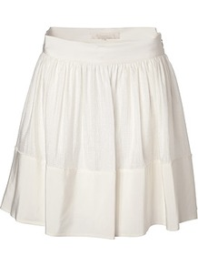 White Silk Linen Skirt - length: mid thigh; pattern: plain; style: full/prom skirt; fit: loose/voluminous; waist detail: wide waistband/cummerbund; waist: high rise; predominant colour: white; occasions: casual, evening, occasion, holiday; fibres: silk - mix; hip detail: structured pleats at hip; texture group: silky - light; trends: volume; pattern type: fabric; pattern size: standard