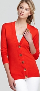 Simone Cardigan - neckline: low v-neck; pattern: plain; predominant colour: true red; occasions: casual, work; length: standard; style: standard; fibres: wool - 100%; fit: standard fit; sleeve length: long sleeve; sleeve style: standard; texture group: knits/crochet; pattern type: knitted - other; pattern size: standard
