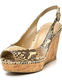 Jean Peeptoe Platform Wedges - predominant colour: tan; occasions: casual, holiday; material: leather; heel height: mid; embellishment: buckles; heel: wedge; toe: open toe/peeptoe; style: standard; finish: plain; pattern: animal print