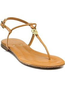 Emmy Flat Sandals - predominant colour: tan; occasions: casual, work, holiday; material: leather; heel height: flat; embellishment: buckles, chain/metal; ankle detail: ankle strap; heel: standard; toe: toe thongs; style: flip flops / toe post; finish: plain; pattern: plain