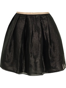 Xoxo Black Skirt - length: mid thigh; pattern: plain; style: tulip; fit: loose/voluminous; waist: mid/regular rise; predominant colour: black; occasions: casual, evening, occasion; fibres: polyester/polyamide - mix; hip detail: structured pleats at hip; trends: metallics, volume; pattern type: fabric; texture group: net/tulle