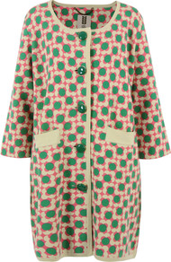 Fsm211 Flower Spot Melon Coat - collar: round collar/collarless; style: single breasted; hip detail: front pockets at hip; length: mid thigh; predominant colour: emerald green; occasions: casual, work; fit: straight cut (boxy); fibres: cotton - 100%; sleeve length: 3/4 length; sleeve style: standard; texture group: cotton feel fabrics; trends: statement prints; collar break: high; pattern type: fabric; pattern size: standard; pattern: patterned/print