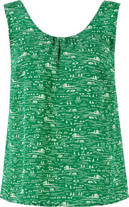 Riv425 Jade Riviera Print Top - neckline: round neck; sleeve style: sleeveless; style: vest top; predominant colour: emerald green; occasions: casual, holiday; length: standard; fibres: silk - 100%; fit: straight cut; sleeve length: sleeveless; texture group: cotton feel fabrics; pattern type: fabric; pattern size: small & busy; pattern: patterned/print