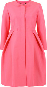 Otm822 Solid Ottoman Peony Coat - pattern: plain; collar: round collar/collarless; style: single breasted; hip detail: flared at hip; length: mid thigh; predominant colour: pink; occasions: casual, evening, work, occasion; fit: tailored/fitted; fibres: cotton - mix; waist detail: fitted waist; sleeve length: 3/4 length; sleeve style: standard; texture group: structured shiny - satin/tafetta/silk etc.; collar break: high; pattern type: fabric