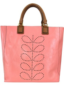 Ste067 Structured Stem Candy Bag - predominant colour: pink; occasions: casual, work, holiday; type of pattern: light; style: tote; length: handle; size: standard; material: leather; embellishment: applique; pattern: plain; trends: fluorescent; finish: plain