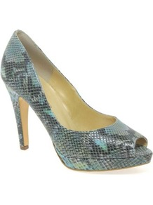 Turquoise Patu Womens High Heeled Open Court Shoes - predominant colour: turquoise; occasions: evening, occasion; material: leather; heel height: high; heel: platform; toe: open toe/peeptoe; style: courts; finish: plain; pattern: animal print