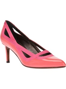 Patent Kitten Heel Pump - predominant colour: pink; occasions: evening, occasion; material: leather; heel height: mid; heel: stiletto; toe: pointed toe; style: courts; finish: patent; pattern: plain