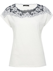 Women's Applique Short Sleeve Top - pattern: plain; bust detail: added detail/embellishment at bust; style: t-shirt; shoulder detail: contrast pattern/fabric at shoulder; predominant colour: white; occasions: casual; length: standard; fibres: cotton - 100%; fit: body skimming; neckline: crew; sleeve length: short sleeve; sleeve style: standard; pattern type: fabric; pattern size: standard; texture group: jersey - stretchy/drapey; embellishment: applique