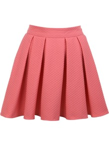 Coral Textured Skater Skirt - length: mid thigh; pattern: plain; style: full/prom skirt; fit: loose/voluminous; waist detail: structured pleats at waist; waist: mid/regular rise; predominant colour: coral; occasions: evening, occasion; fibres: polyester/polyamide - mix; hip detail: sculpting darts/pleats/seams at hip; trends: volume; pattern type: fabric; pattern size: standard; texture group: jersey - stretchy/drapey