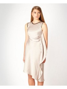 Designer Beige Ruffled Side Day Dress - style: shift; pattern: plain; sleeve style: sleeveless; predominant colour: champagne; secondary colour: black; occasions: evening, occasion; length: just above the knee; fit: soft a-line; fibres: polyester/polyamide - 100%; neckline: crew; sleeve length: sleeveless; texture group: structured shiny - satin/tafetta/silk etc.; hip detail: ruffles/tiers/tie detail at hip; pattern type: fabric