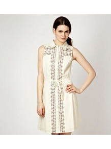 Ivory Embellished Shirt Dress - style: shirt; length: mid thigh; neckline: shirt collar/peter pan/zip with opening; sleeve style: sleeveless; waist detail: belted waist/tie at waist/drawstring; predominant colour: ivory; occasions: casual; fit: straight cut; fibres: cotton - 100%; sleeve length: sleeveless; texture group: cotton feel fabrics; pattern type: fabric; pattern size: small &amp; light; pattern: patterned/print; embellishment: embroidered