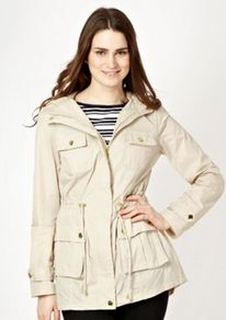 Beige Rain Mac Coat - pattern: plain; length: below the bottom; bust detail: added detail/embellishment at bust; collar: funnel; style: mac; back detail: hood; fit: slim fit; predominant colour: stone; occasions: casual; fibres: nylon - 100%; waist detail: belted waist/tie at waist/drawstring; sleeve length: long sleeve; sleeve style: standard; texture group: waxed cotton; collar break: high/illusion of break when open; pattern type: fabric