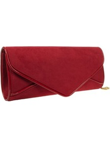 Red Envelope Clutch Bag - predominant colour: burgundy; occasions: evening, occasion; type of pattern: standard; style: clutch; length: hand carry; size: small; material: faux leather; pattern: plain; finish: plain; embellishment: chain/metal